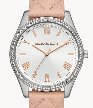Michael Kors Women's Julie Three-hand Pink Leather Watch