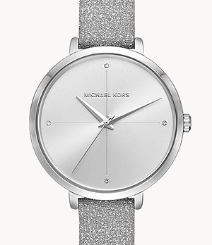 Michael Kors Women's Charley Three-Hand Silver Leather Watch