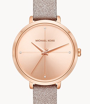 Michael Kors Women's Charley Three-Hand Rose Gold Leather Watch