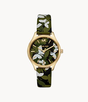 Michael Kors Women's Lexington Three-Hand Green Floral Printed Leather Watch