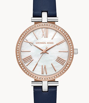 Michael Kors Women's Maci Three-Hand Navy Leather Watch