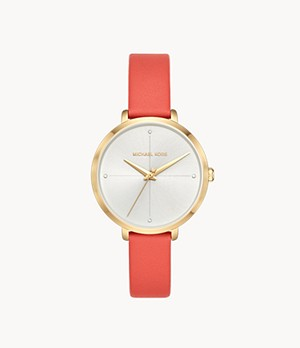 Michael Kors Women's Charley Three-Hand Pink Leather Watch