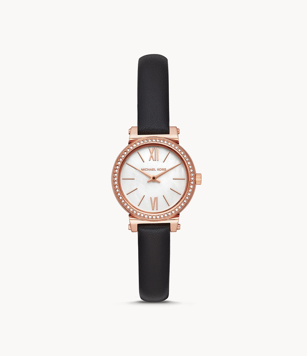 Michael Kors Women's Sofie Two-Hand Black Leather Watch - MK2849 - Watch Station