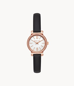 Michael Kors Women's Sofie Two-Hand Black Leather Watch
