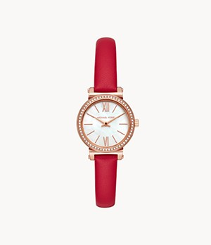 Michael Kors Women's Sofie Two-Hand Red Leather Watch