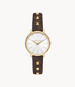 Michael Kors Pyper Two-Hand Studded Brown PVC Watch