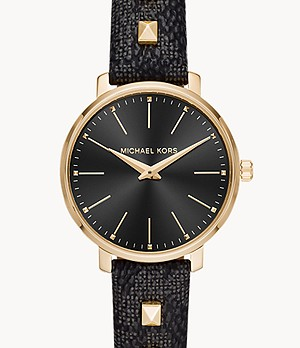 Michael Kors Pyper Two-Hand Studded Black PVC Watch