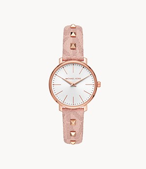 Michael Kors Pyper Two-Hand Studded Blush PVC Watch