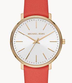 Michael Kors Pyper Three-Hand Pink Coral Leather Strap
