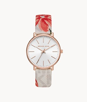 Michael Kors Pyper Three-Hand MultiColour Floral-Print PVC Leather Band