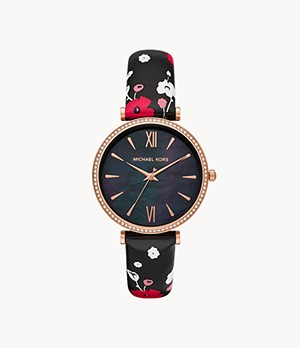 Michael Kors Maisie Three-Hand Multicolor Floral-Print Leather Watch