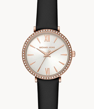 Michael Kors Petite Maisie Three-Hand Black Leather Watch
