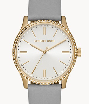Michael Kors Bailey Three-Hand Gray Leather Watch