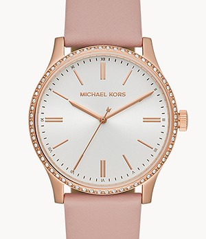 Michael Kors Bailey Three-Hand Blush Leather Watch