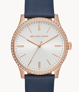 Michael Kors Bailey Three-Hand Blue Leather Watch
