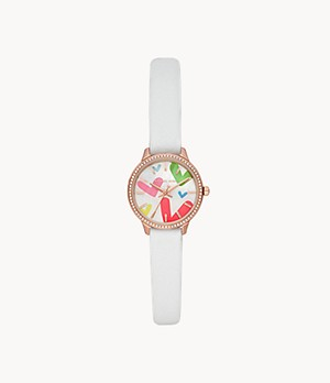 Michael Kors Qixi Allie Three-Hand White Leather Watch