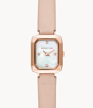 Michael Kors Alane Two-Hand Blush Leather Watch