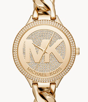 Michael Kors Women's Slim Runway Three-Hand Gold-Tone Steel Watch