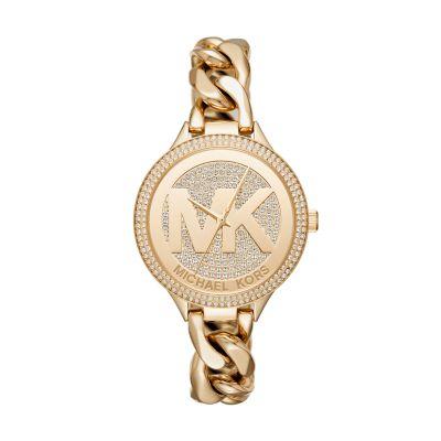 Michael Kors Women's Slim Runway Three-Hand Gold-Tone Stainless Steel Watch - MK3474 - Watch Station
