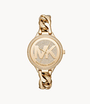 Michael Kors Women's Slim Runway Three-Hand Gold-Tone Stainless Steel Watch