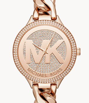 Michael Kors Women's Slim Runway Three-Hand Rose Gold-Tone Stainless Steel Watch