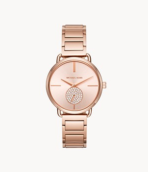 Michael Kors Portia Rose Gold-Tone Two-Hand Sub-Eye Watch