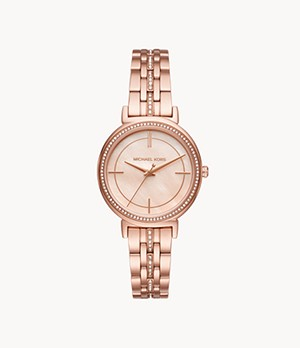 Michael Kors Women's Cinthia Three-Hand Rose Gold-Tone Stainless Steel Watch