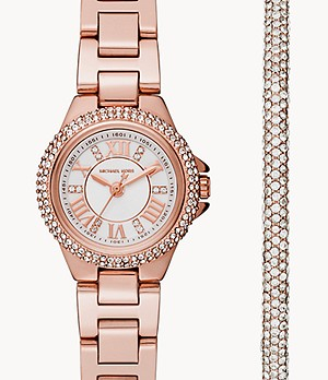 Michael Kors Camille Three-Hand Rose Gold-Tone Steel Watch