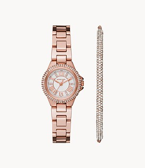 Michael Kors Camille Three-Hand Rose Gold-Tone Stainless Steel Watch