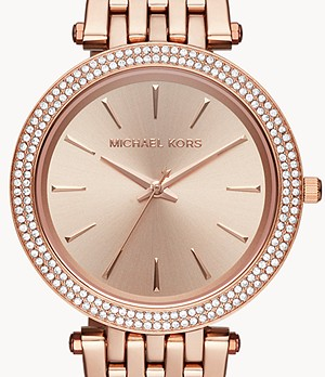 Michael Kors Women's Darci Three-Hand Rose Gold-Tone Stainless Steel Watch