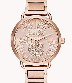 Michael Kors Women's Portia Multifunction Rose Gold-Tone Stainless Steel Watch