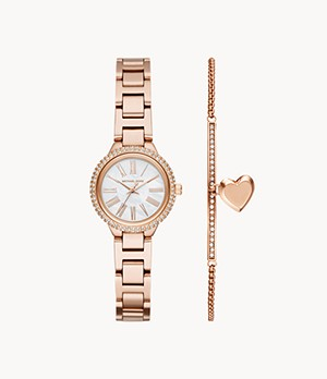 Michael Kors Women's Taryn Three-Hand Rose Gold-Tone Steel Watch Set