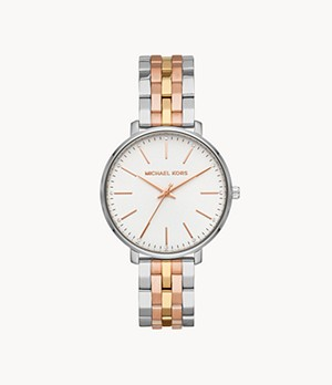 Michael Kors Women's Pyper Three-hand Tri-Tone Stainless Steel Watch