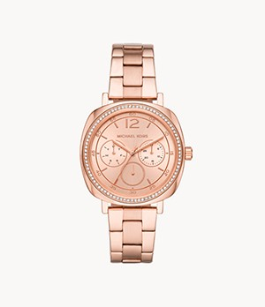 Michael Kors Women's Nia Chronograph Rose Gold-Tone Stainless Steel Watch
