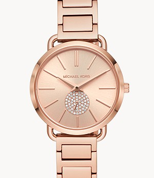 Michael Kors Women's Portia Three-Hand Rose Gold-Tone Stainless Steel Watch