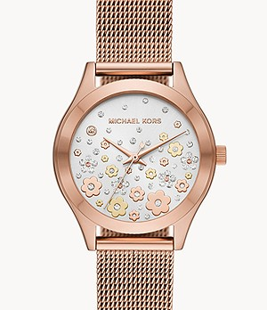 Michael Kors Women's Slim Runway Three-Hand Rose Gold-Tone Steel Watch