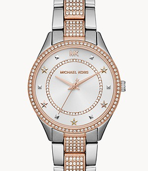 Michael Kors Women's Lauryn Three-Hand Pavé Two-Tone Stainless Steel Watch