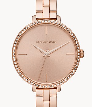 Michael Kors Women's Charley Three-Hand Rose Gold-Tone Stainless Steel Watch