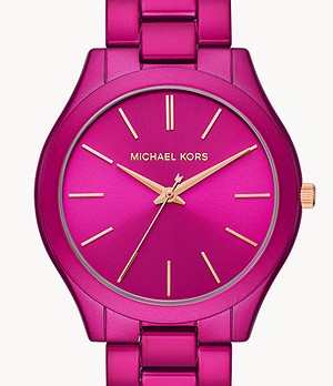 Michael Kors Women's Slim Runway Three-Hand Pink Stainless Steel Watch
