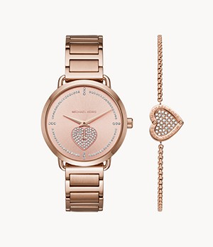 Michael Kors Women's Portia Rose Gold-Tone Stainless Steel Watch and Bracelet Gift Set