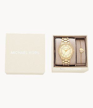 Michael Kors Lauryn Three-Hand Gold-Tone Stainless Steel Watch Giftset