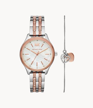 Michael Kors Lexington Three-Hand Two-Tone Stainless Steel Watch Giftset