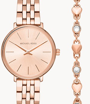 Michael Kors Women's Mini Pyper Rose Gold-Tone Stainless Steel Watch and Bracelet Gift Set