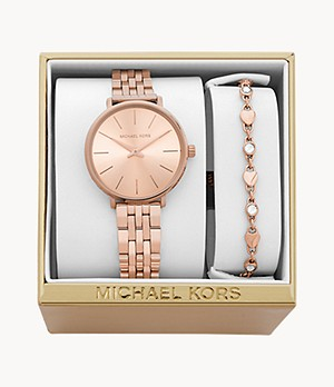 Michael Kors Women's Mini Pyper Gold-Tone Steel Watch and Bracelet Gift Set