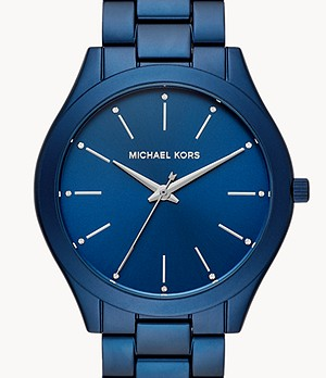 Michael Kors Slim Runway Three-Hand Navy Aluminum Watch