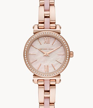 Michael Kors Petite Sofie Two-Hand Rose Gold Stainless Steel with Acetate Watch