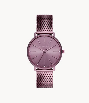 Michael Kors Pyper Three-Hand Lavender IP Stainless Steel Watch