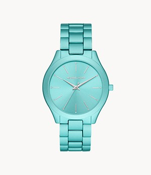 Michael Kors Slim Runway Three-Hand Aqua Aluminum Watch