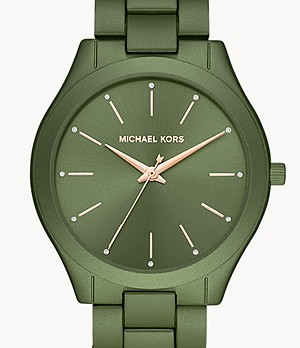 Michael Kors Slim Runway Three-Hand Olive Aluminium Watch
