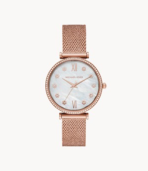 Michael Kors Maisie Three-Hand Rose Gold-Tone Mesh Watch